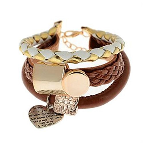 - Phonphisai shop Girl Love Heart Bracelet Vintage Wristband Infinity Charm Cuff Leather Bangle