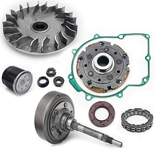 TARAZON Clutch Primary Fixed Sheave + Clutch Cover Housing + Pad Shoe + Bearing + Gasket + Flange Nut + Oil Seal + Oil Filter kit for YAMAHA RHINO 660 YXR660 2004-2017 / GRIZZLY 660 YFM660 2002-2008