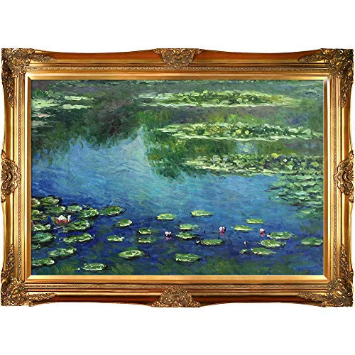 Monet Water Lilies Oil Painting - overstockArt Monet Water Lilies Painting with Victorians Gold Finish Frame