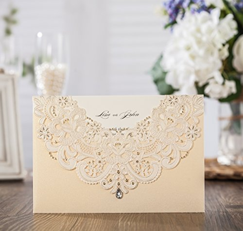 Wishmade 50x Gold Laser Cut Flora & Lace Wedding Invitations Kit With Rhinestone Matched With RSVP & Thank You Card CW6115