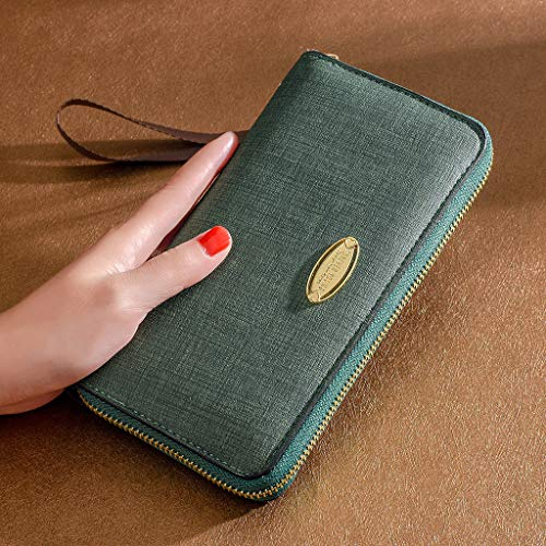- Bazahy Classic RFID Blocking Wallet Leather Zip Around Phone Clutch Large Travel Purse For 18-35 Years Lady