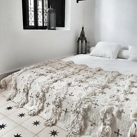 manta de estilo bohemio, ropa de cama boho chic, handira, manta de boda marruecos bereber, alfombra marruecos vintage, tapiz, textiles vintage: Amazon.es: ...