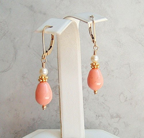 Pink Drop Swarovski Element Faux Pearl Gold Fill Leverback Earrings Simulated Coral Color Gift Idea