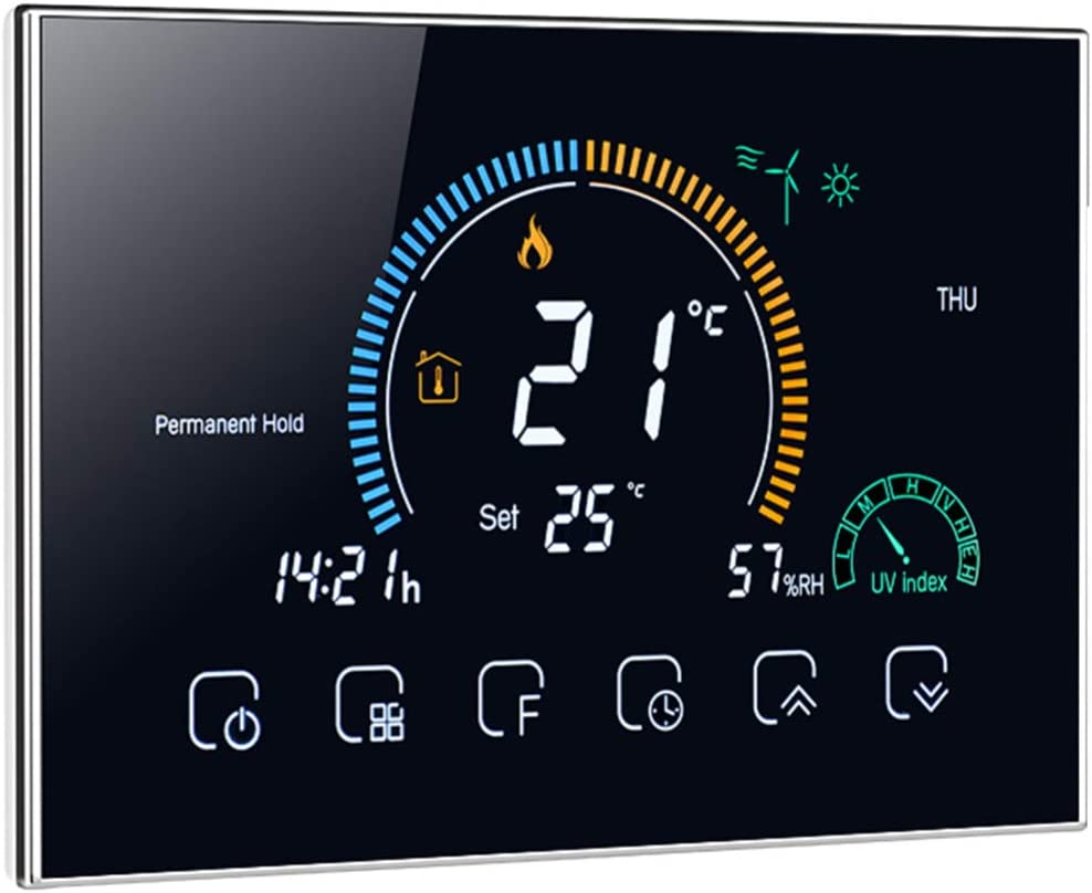 IMIKEYA Wi-fi Smart Thermostat Digital Temperature Controller with Touchscreen Work with Alexa, Google Home and Tmall Genie