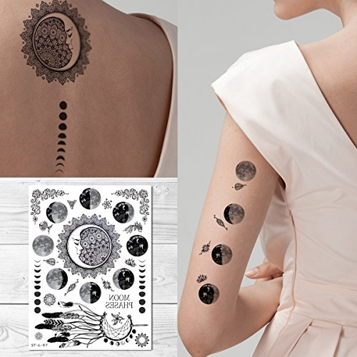 - Supperb Temporary Tattoos - Moon phase Tattoo Full Moon Crescent Festival Bohemian Meditation Celestial Henna Tattoo
