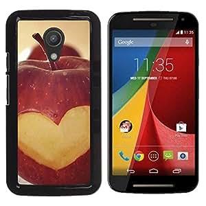 TopCaseStore / la caja del caucho duro de la cubierta de protección de la piel - Fruit Macro Apple Heart Lowe - Motorola MOTO G 2ND GEN II