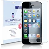 iLLumiShield - Apple iPhone 5 (5th Generation) (HD) Blue Light UV Filter Screen Protector Premium High Definition Clear Film / Reduces Eye Fatigue and Eye Strain - Anti- Fingerprint / Anti-Bubble / Anti-Bacterial Shield - Comes With Free LifeTime Replacement Warranty - [2-Pack] Retail Packaging