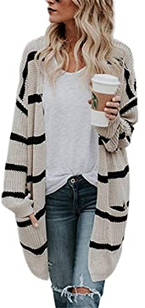 aaf3f56e10b YOGLY Cardigan Femme Long en Maille Manches Longues Pull à Rayures Gilet  Tricot Chandail Outwear Manteau