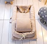 Abreeze Baby Bassinet for Bed - Coffee Striped Baby Lounger - Breathable & Hypoallergenic Co-Sleeping Baby Bed - 100% Cotton Portable Crib for Bedroom/Travel