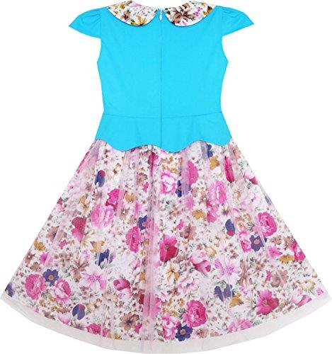 Blue Flower Halter Collar 10 4 Girls Peony Print Size Dress Blue Years Pink Sleeveless xIqIwRnapY