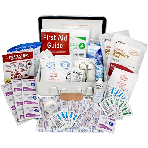 Aid First Table Treatment (OSHA & ANSI First Aid Kit, 25 Person, 74 Pieces, Indoor/Outdoor Emergency Kit for Office, Home or Car, ANSI 2015 Class A, Made in USA by Urgent First Aid™ Gasketed Metal case keeps out moisture & dust)