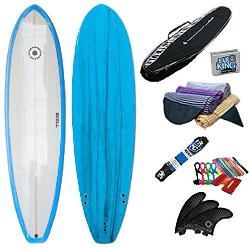 SCELL(セル) ファンボード 6'8 青 初心者7点セット サーフボード サーフィン SET ステップアップモデル