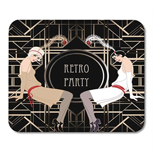 (Semtomn Gaming Mouse Pad 1920S Flapper Girl Retro Party Invitation Design Vector Illustration Speakeasy 9.5
