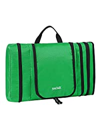 Bagail Men & Women Waterproof Flat Toiletry Kit, Portable and Spacious Travel Cosmetic Organizer Bag for Travel Accessories,Personal Items, Makeup and Shaving Green
