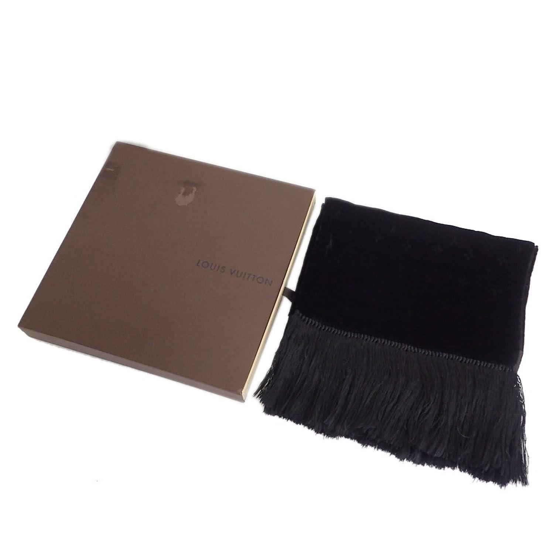 ルイヴィトン モノグラム マフラー フリンジ ベロア ベルベット M71994 ブラック [極美品]中古 B07DZYCXVH  -