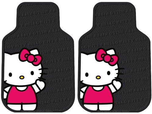 Plasticolor Hello Kitty Sanrio Waving Front & Rear Car Truck SUV Seat Rubber Floor Mats by Plasticolor (Image #1)