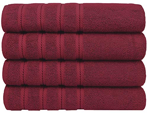 Premium, Turkish Towel Set, Luxury Hotel & Spa Towel Sets for Maximum Softness and Absorbency by American Soft Linen (4-Piece Bath Towel Set, Bordeaux Red)
