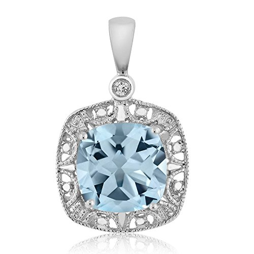 Gem Stone King 10K White Gold Women's Cushion Sky Blue Topaz and Diamond Accent Necklace 2.74 cttw
