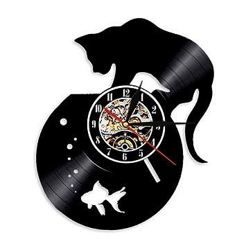 Ysain 1 Pieza Gato Negro y pecera Disco de Vinilo Reloj de Pared Hecho a Mano