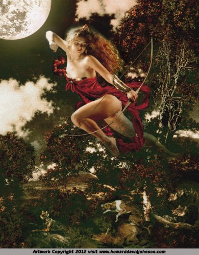 Moon Goddess Diana Canvas Print By Howard David Johnson