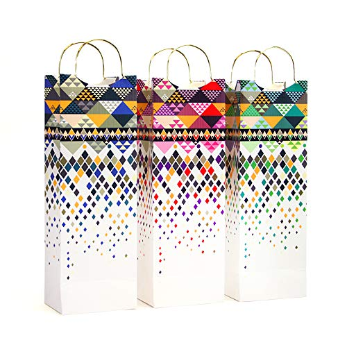 12 Pack Premium Wine, Liquor or Beer Gift Bags with Metal Handles, Single Bottle Tote Perfect for Weddings, Birthdays, Housewarming and Dinner Parties