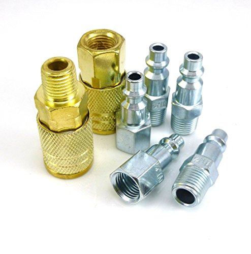 Golden Power Air Coupler and Plug Kit, 1/4' NPT Air Fittings Industrial Type I/M, 7 Piece Air Tool and Compressor Accessories Kit. D-07