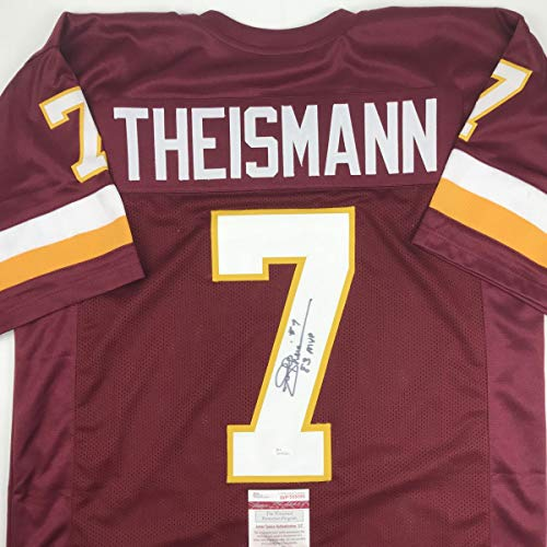 (Autographed/Signed Joe Theismann 83 MVP Washington Burgundy Football Jersey JSA COA)