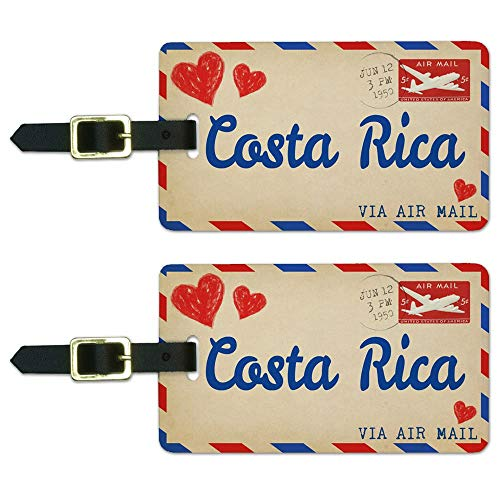 Graphics & More Air Mail Postcard Love for Costa Rica Luggage Suitcase Carry-on Id Tags, White ()