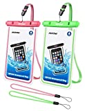 Mpow Fluorescent Waterproof Phone Pouch, Universal IPX8 Waterproof Case Dry Bag with Extra