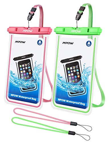 Mpow Fluorescent Waterproof Phone Pouch, Universal IPX8 Waterproof Case Dry Bag with Extra Wrist Strap for iPhone Xs Max/XS/XR/X/8/8P, Galaxy S10/S9/S9P/S8, Google Pixel/HTC up to 6.5
