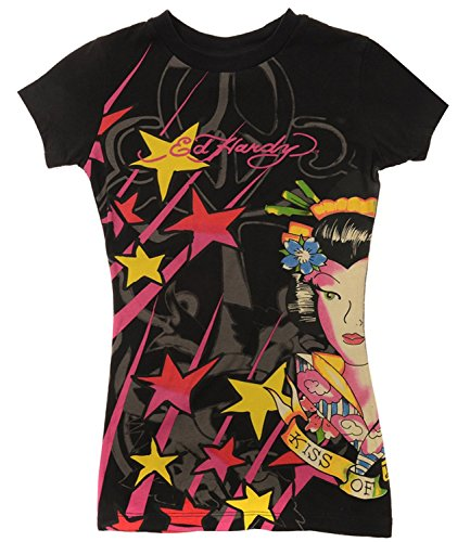 Ed Hardy Kids Girls Kiss Of Death Geisha Short Sleeve T-Shirt - Black - 8 ()
