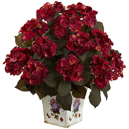 (Nearly Natural 1396-RU Hydrangea with Large Floral Planter, Rust)