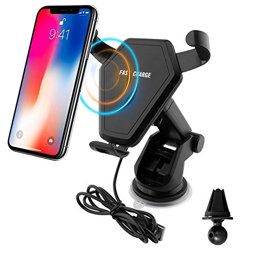 Wireless Car Charger, Sadun Qi Fast Wireless Charging Car Mount Gravity Linkage Air Vent Phone Holder for iPhone X/8/8 Plus, Samsung Galaxy Note 8/5,S8+,S7,S6 Edge+,Compatible with All Qi-Enabled by Sadun