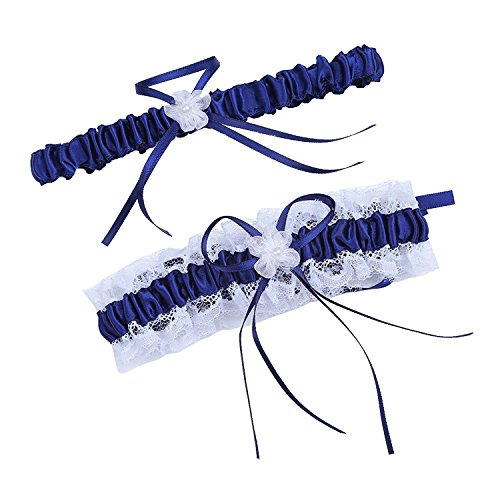 Women Wedding Bridal Legs Garter Set Bridal Garters Lace Belt with Toss Away JW20 (5-Navy Blue) Wedding Leg Garter