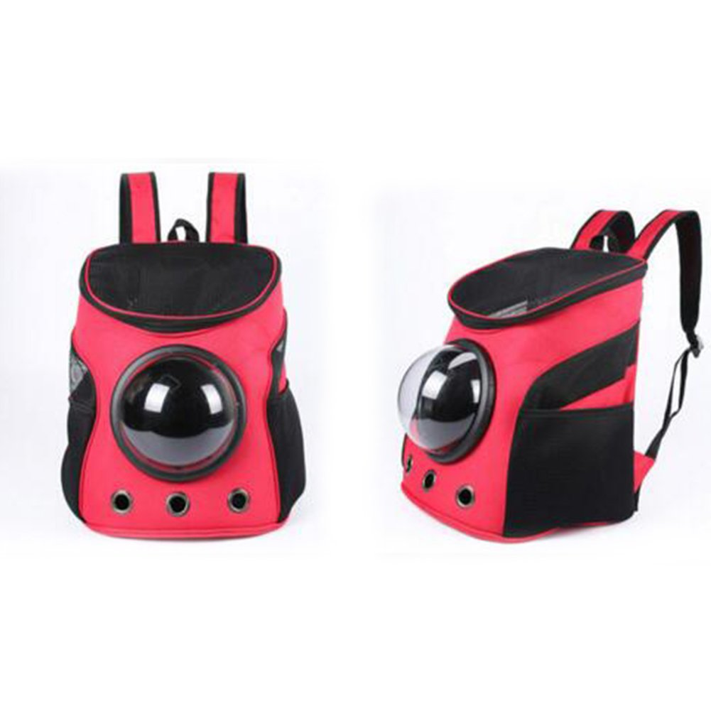 RONSHIN Practical Breathable Capsule Pet Backpack Carrier Travel Bags for Cat Dog Puppy Small Animals (red)