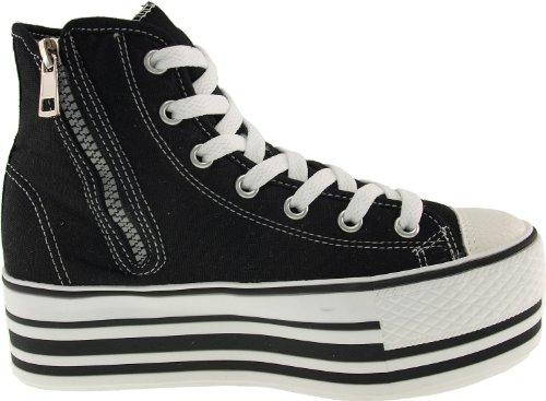 Maxstar C50 7-Fach mit Reißverschluss Fashion Platform High Top Sneakers Stripe-Black