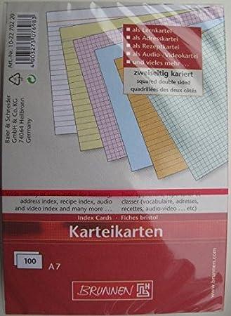 Pack 100 A6 liniert Green Brunnen 102260000/Plain Index Cards A6,/Plain