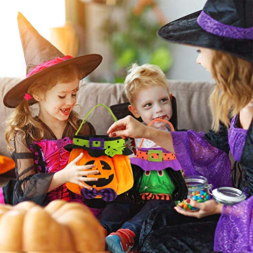 POPLAY 3 Pack Halloween Trick or Treat Tote Bags Reusable Candy Grocery Totes Halloween Party Favor Bags for Kids, Pumpkin, Black Cat, Witch