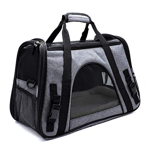 Travel Approved Comfy Pet Carriers w/Fleece Bed for Dogs & Cats