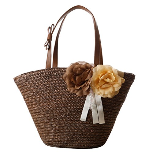 Zhuhaitf Ventas calientes High Quality Womens Fashion Style Handbags Flowers Wrapped Woven Bags Beach for Laides Solid Color Brown