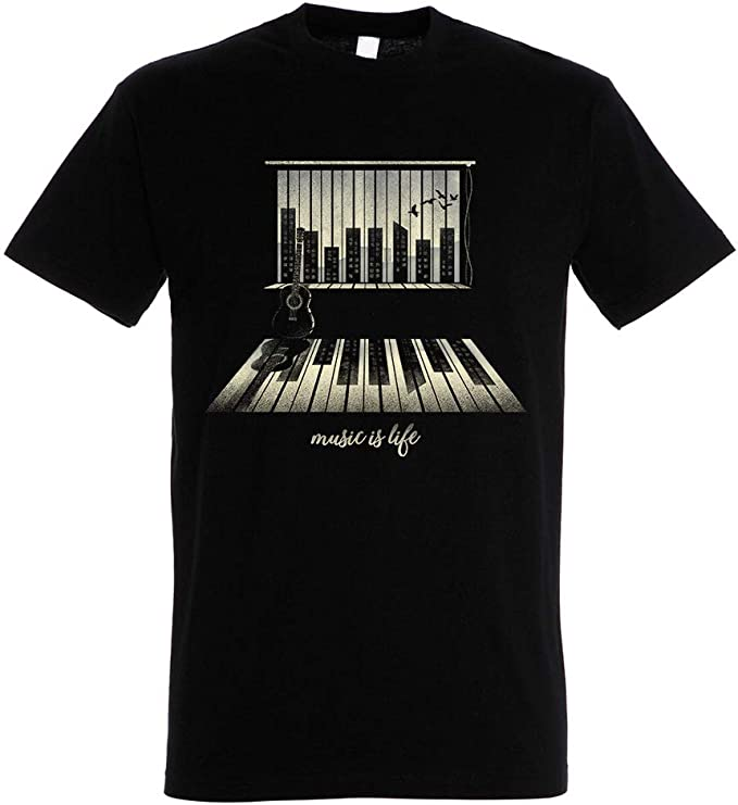 Pampling Camiseta Music Is Life - Piano - Color Negro - 100 ...
