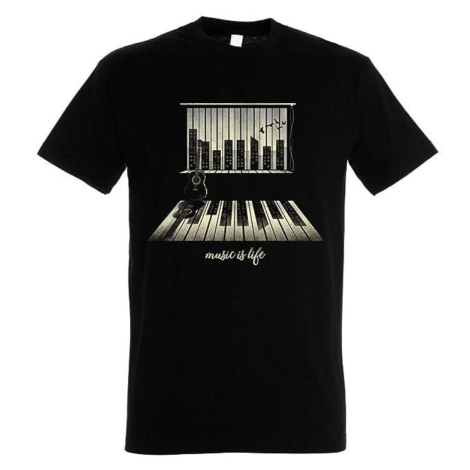 Pampling Camiseta Music Is Life - Piano - Color Negro - 100% Algodón - Serigrafía: Amazon.es: Ropa y accesorios