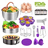 Pressure Cooker Accessories Set Fits Instant pot 6,8 Qt - 15-Piece Include Steamer Basket for Instant Pot Accessories, Springform Pan, Egg Steamer Rack, Silicon Egg Bites Mold, Magnetic Cheat Sheets