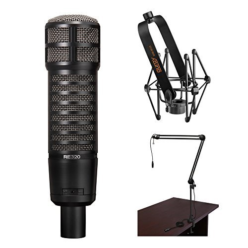 - Electro-Voice RE320 Vocal and Instrument Microphone Kit with Shockmount and Broadcast Arm with Integrated XLR Cable