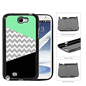 Teal Black And Gray Chevron Hard Plastic Snap On Cell Phone Case Samsung Galaxy Note 2 II N7100