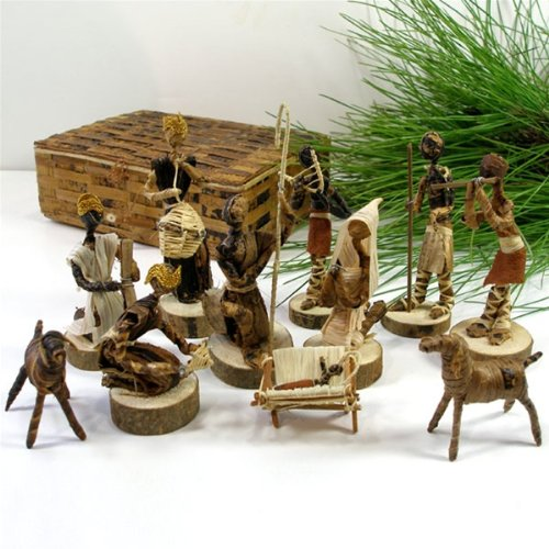 Global Crafts Nativity Set Handmade in Kenya From Banana Fiber by Global Crafts
