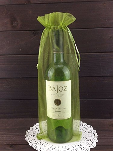 50pcs Organza Wine Bottle Cover Wrap Gift Bags Christmas/Wedding Plain Organza Pouch (Olive)