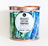 L. Organic Cotton Tampons With BPA-Free Applicators - Regular + Super Variety Pack - 30 Compact Tampons