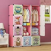 MAGINELS Kid Wardrobe Armoire Closet Clothes Organizer Toy Cube Storage Bedroom DresserChildren Hanging Rack Portable Blue Pink