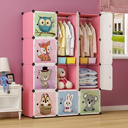 MAGINELS Portable Kid Organizers and Cute Baby Storage Organizer Clothes Wardrobe Cube Closet MultiFuncation Bedroom Armoire Children Dresser Rack Forest Animal Pink 8 Cube & 2 Hanging Section